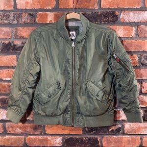 Gap Kids Army Green Full Zip Lined Bomber Jacket